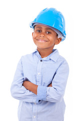 African American little boy wearing a protection hat  - Black pe
