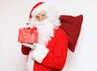 Weihnachtsmann mit roter Geschenkbox