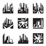 Various buildings in perspective - vector illustration