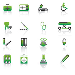 Green Medical Icons Vector Illustration.