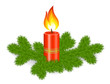 Candle with branch of fir, Christmas decoration