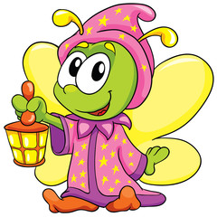 firefly in pajamas on white background, vector illustration