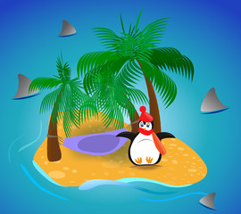 cold penguin over tropical island