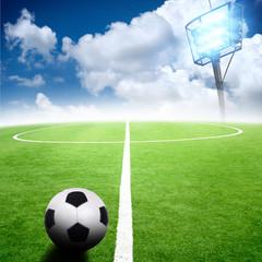 soccer stadium with bright lights