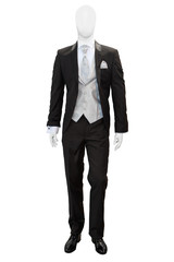 Business dark grey suite on mannequin isolated