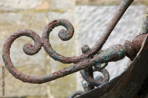 rusty wrought iron railings