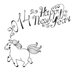 Happy new year 2014. Year of the Horse. Vector illustration.