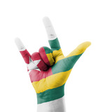 Hand making I love you sign, Togo flag painted