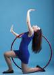 Dance hoop Beautiful woman in blue