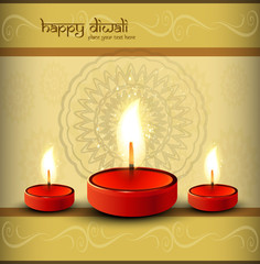 Greeting card beautiful diwali vector design