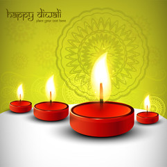 Diwali festival with beautiful lamps background vector