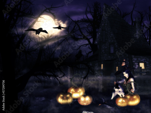 Witch with pumpkins