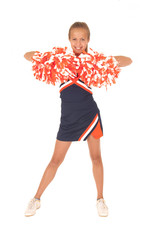Young high school cheerleade front view with pom poms