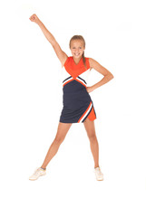 Young high school cheerleader cheering with no pom poms one hand