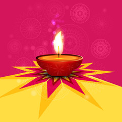 Beautiful rangoli diwali lamp colorful vector background
