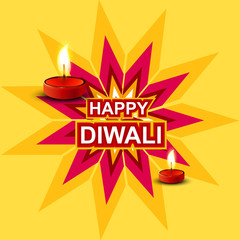 Colorful diwali greeting card vector background design illustrat