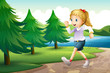 A girl jogging near the pine trees at the riverbank