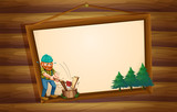 A hanging wooden signboard with a lumberjack chopping the woods