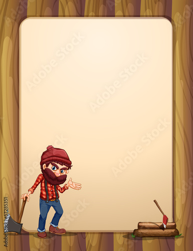 An empty wooden template with a woodman holding an axe