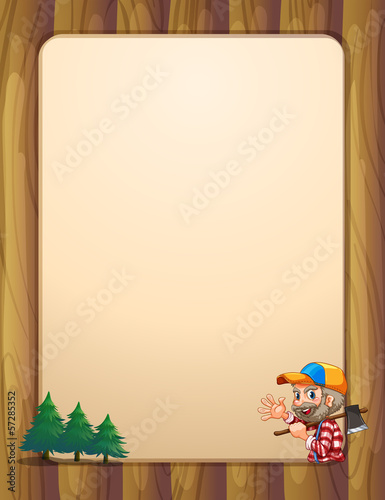 An empty template with a lumberjack carrying an axe