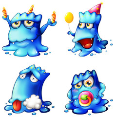 Four blue monsters
