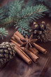 Christmas time herbs and spices: cinnamon sticks and star anise
