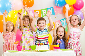 happy kids celebrating birthday holiday