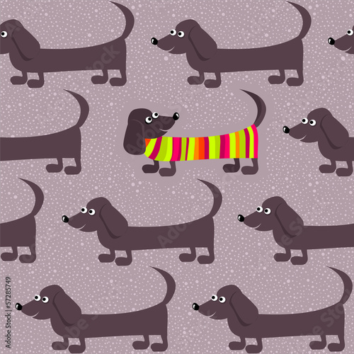 Seamless background - dachshund dogs on a winter walk - 57285749