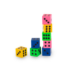 Eight colorfull pensil erasers in the shape of dice