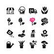 16 Web icon set - florist, flower shop, bouquet, pot