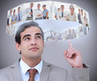 Businessman showing futuristic interface above his head