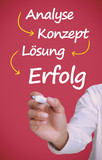Businessman writing problem analyse konzept losung erfolg in whi
