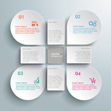 Fototapety Infographic White Drops Cross Rectangles 4 Options