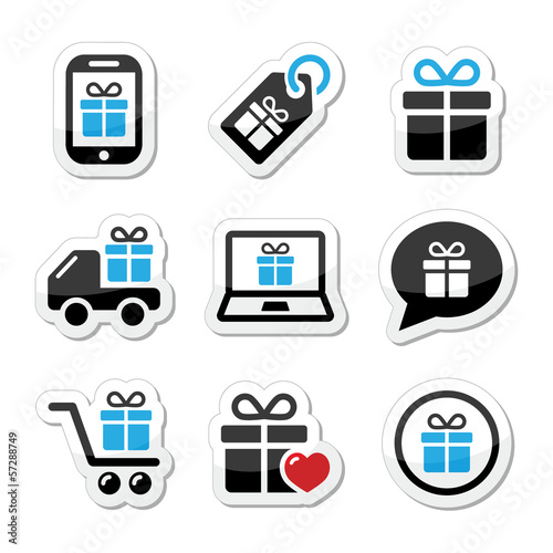 Present, shopping vector icons set