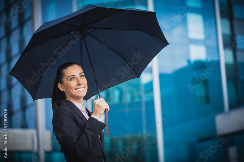 businesswoman, on the modern building background