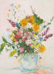 beautiful flower bouquet, oil painting