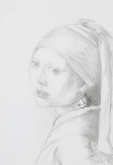 girl with pearl earring, pencil drawing