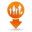 famille sur signet orange
