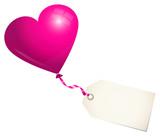 Pink Balloon Heart & Label