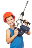little boy with power tool kit