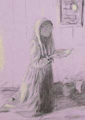 poor woman praying, pencil sketch