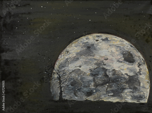 surreal full moon, il painting