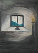 closed window, oil painting