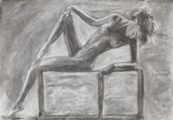 beautiful naked woman laying, pencil drawing