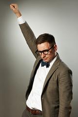 Superhero nerd in eyeglasses and bow tie