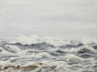 grey sea waves, oil painting