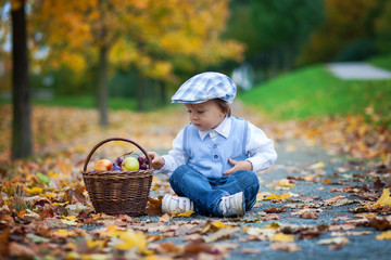 Boy in park with basket of fruits