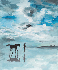 peaceful scene, man and horse running on water