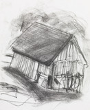 charcoal sketch of an old barn