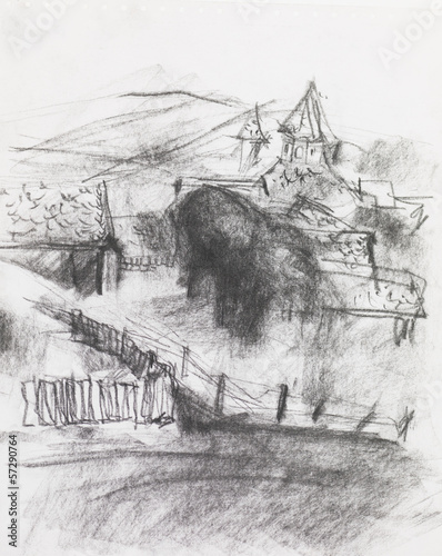 pencil drawing of a village © shotsstudio